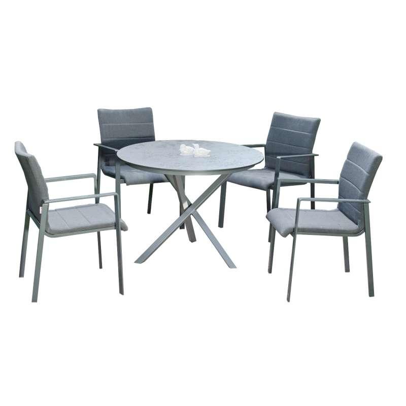Sonnenpartner 5-teilige Sitzgruppe Kingdom & Base-Spectra Ø 100 cm Aluminium mit Sunbrella anthrazit