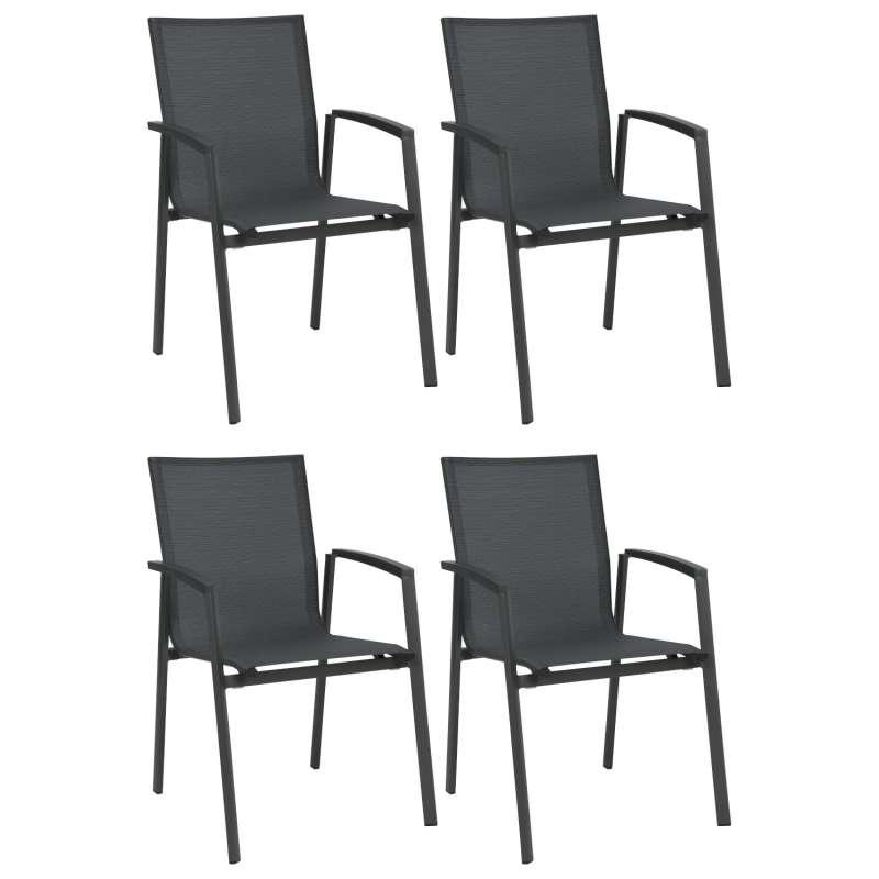 Stern 4er-Set Stapelsessel New Top Aluminium anthrazit/Textilen karbon Gartenstuhl Stapelstuhl