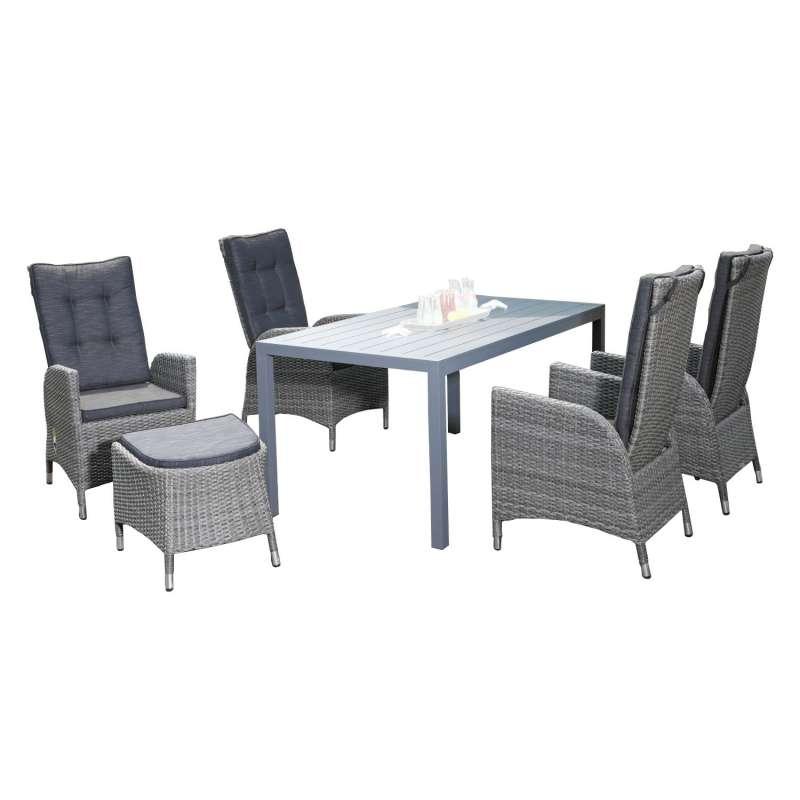 SunnySmart 6-teilige Sitzgruppe Para & Campus II Aluminium Kunststoffgeflecht vintage-grau mit Tisch