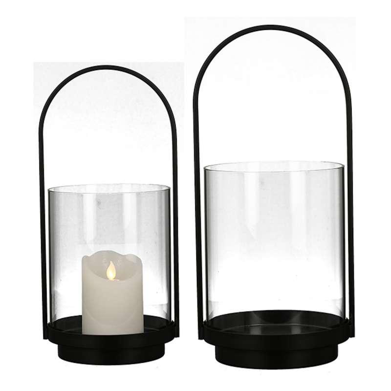 Casablanca 2er-Set Windlichte Lantern groß und klein Metall schwarz Glas Ø 19 und 16,5 cm