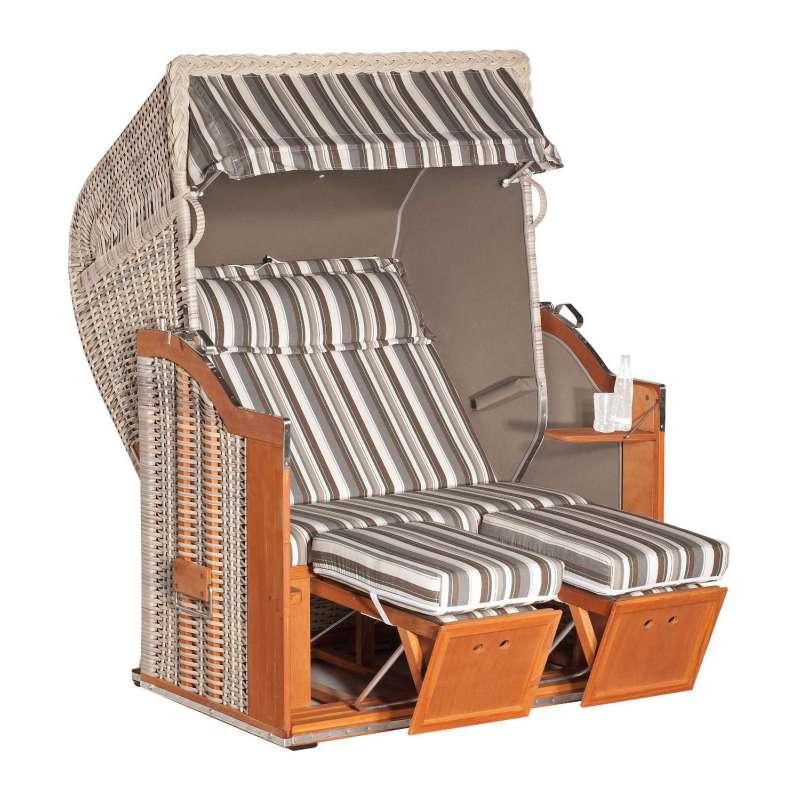 Sonnenpartner Strandkorb Classic 2-Sitzer Halbliegemodell vito/taupe mit Sonderausstattung
