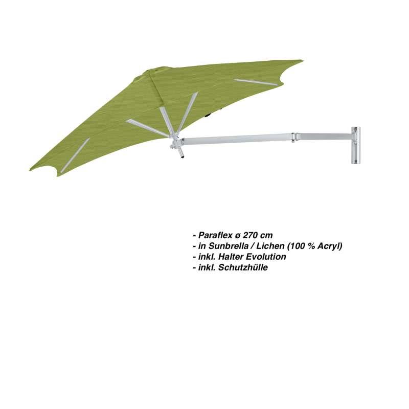 Umbrosa Paraflex ø 270 cm Sonnenschirm Komplettset inkl. Halterung Lichen Wandschirm