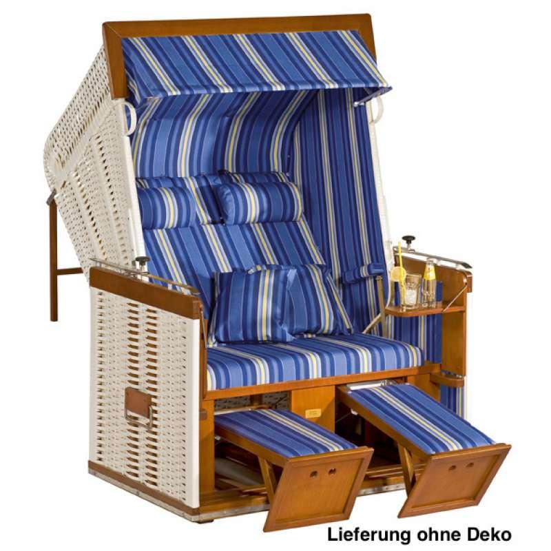 Sonnenpartner Strandkorb Präsident 2 Sitzer Liegemodell weiß blau