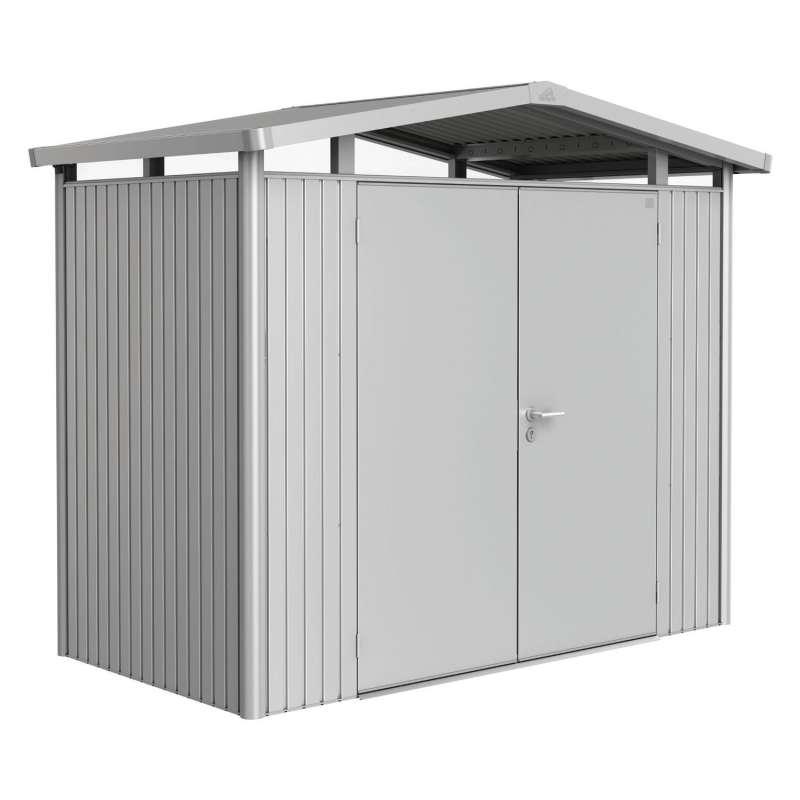 Biohort Gartenhaus Panorama® mit Doppeltür silber-metallic 5 verschiedenen Größen Gerätehaus