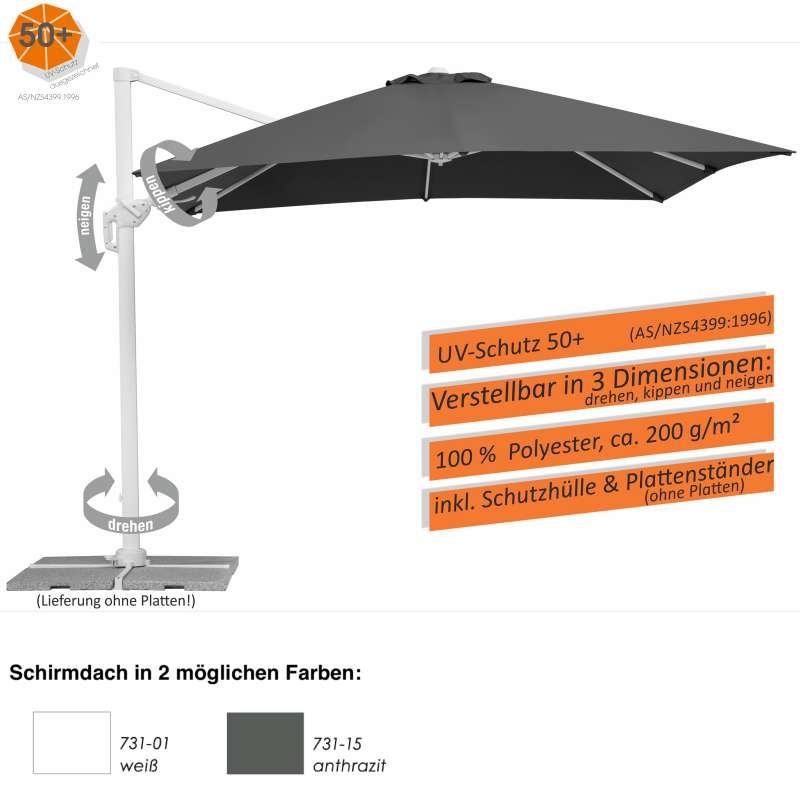 Schneider Schirme Rhodos Twist Bianco Sonnenschirm 300 x 300 cm 2 Farbvarianten Ampelschirm