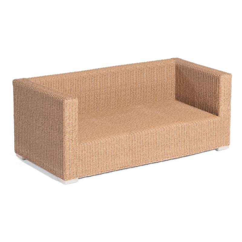 Sonnenpartner 2-Sitzer Lounge-Sofa Residence Aluminium mit Polyrattan Hyazinthoptik inklusive Kissen