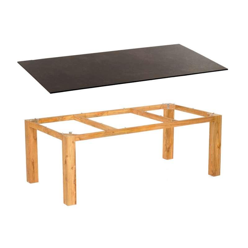 Sonnenpartner Gartentisch Base 200x100 cm Teakholz natur Tischsystem mit wählbarer Tischplatte HPL T