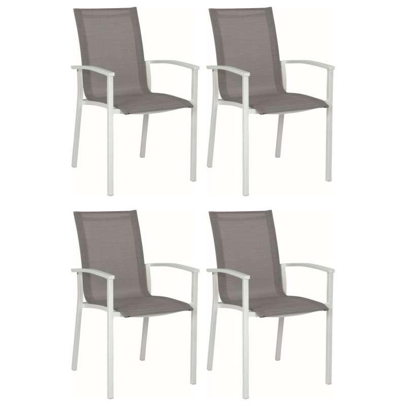 Stern 4er-Set Stapelsessel Evoee Aluminium weiß/silber Gartenstuhl Stapelstuhl