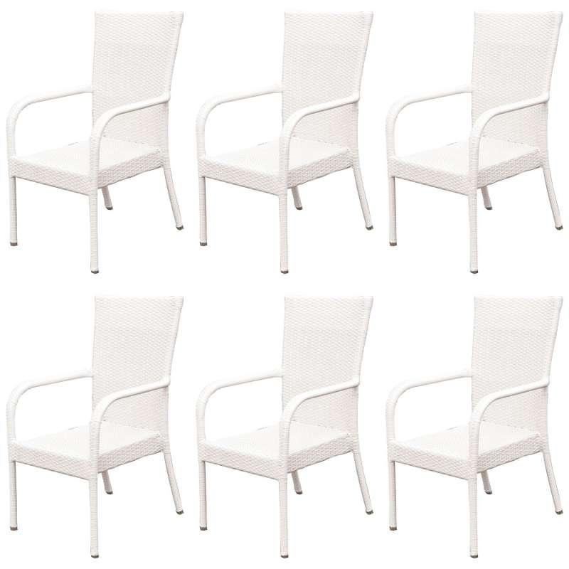 Inko 6er-Set Stapelsessel Dodo Aluminium/Geflecht weiß Stapelstuhl 60x57x93 cm Polyrattan