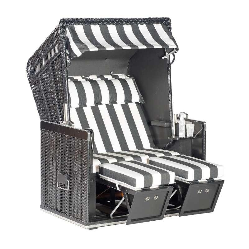 Sonnenpartner Strandkorb Konsul 2-Sitzer Halbliegemodell schwarz/weiß mit Sonderausstattung