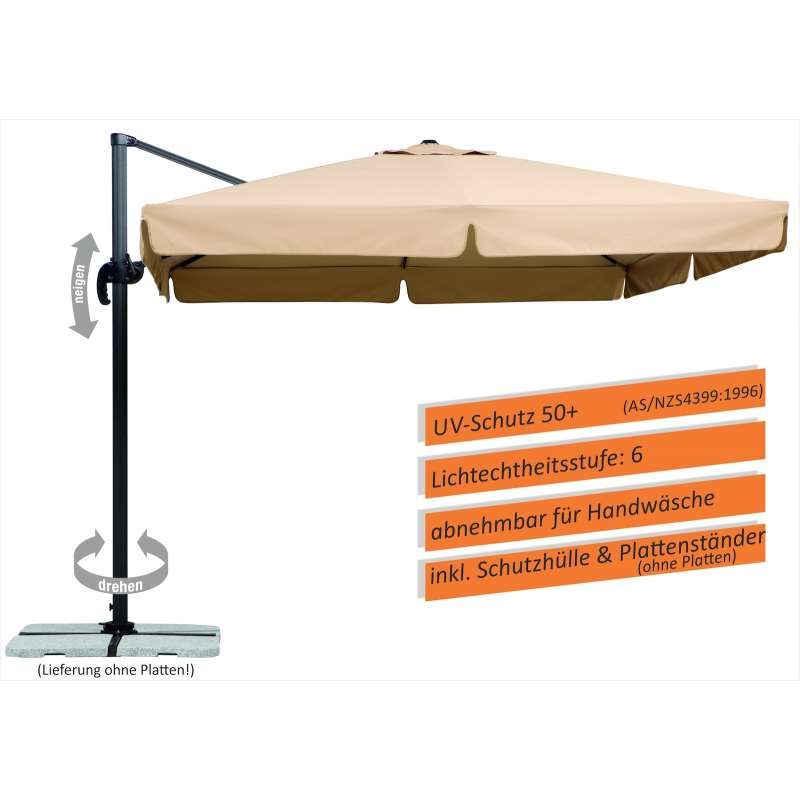 Schneider Schirme Rhodos Ampelschirm 300 x 300 cm natur Sonnenschirm Freiarm
