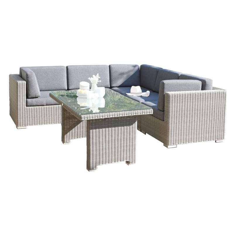 Sonnenpartner 6-teilige Lounge-Sitzgruppe Residence Aluminium mit Polyrattan stone-grey Loungegruppe