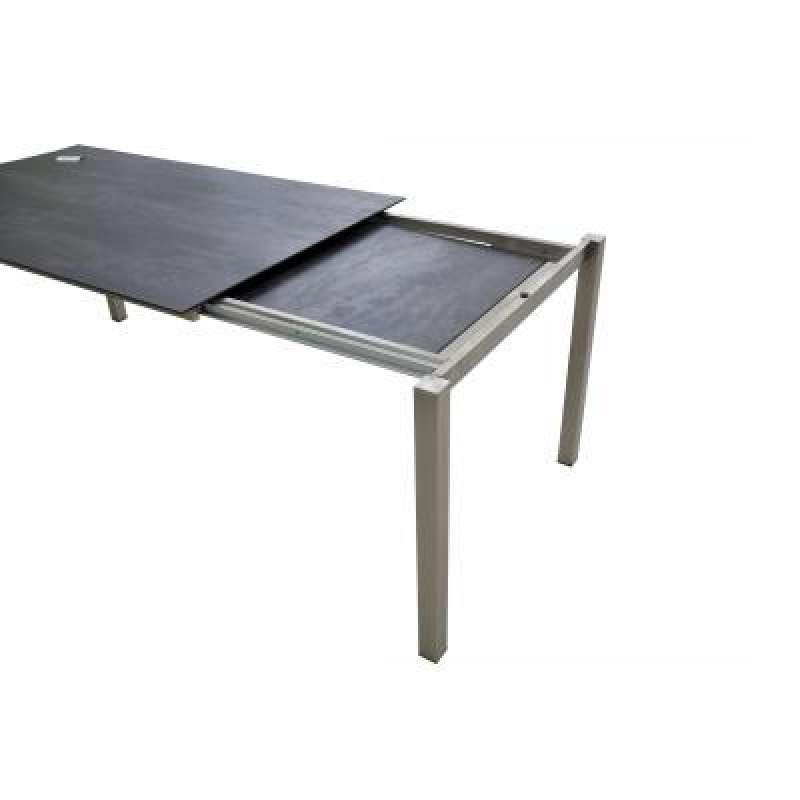 SIT Mobilia Auszugtisch Manhattan Edelstahl Tischplatte HPL dark grey 210/270x95