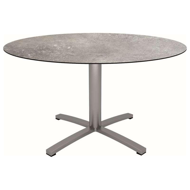 Stern Gartentisch Ø 134 cm Edelstahl/Silverstar 2.0 Vintage stone runder Tisch