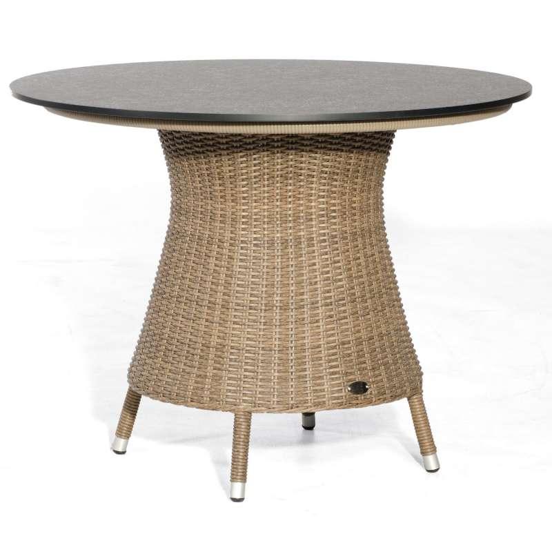 Sonnenpartner Gartentisch Base rund Ø 134 cm Aluminium mit Polyrattan rustic-stream Tischsystem mit