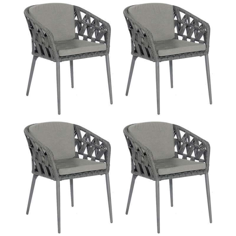 Sonnenpartner 4er-Set Gartensessel Fairmont Aluminium mit Polyrope schwarzgrau Gartenstuhl Sessel