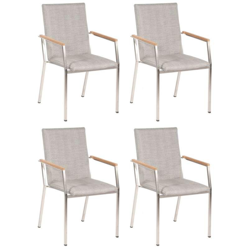 Sonnenpartner 4er-Set Stapelstühle Superior Edelstahl mit Textilen silber-grau Stapel-Sessel Stapels