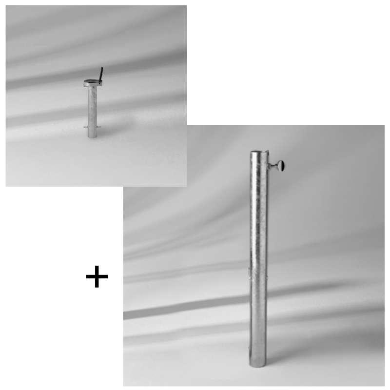 GLATZ Set Bodenhülse ST inkl. Übergangsrohr ST ø 25 - 33 mm Stahl verzinkt