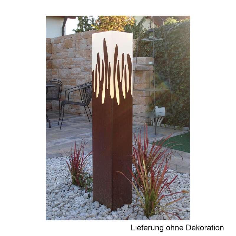 Mecondo LOMOS Leuchtobjekt LED warmweiß 20x20x120 cm Gartenleuchte Cortenstahl/Edelstahl/Stahl