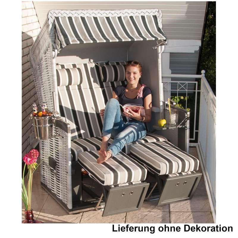 Sonnenpartner Strandkorb Konsul 2-Sitzer Halbliegemodell weiß/hellgrau mit Sonderausstattung