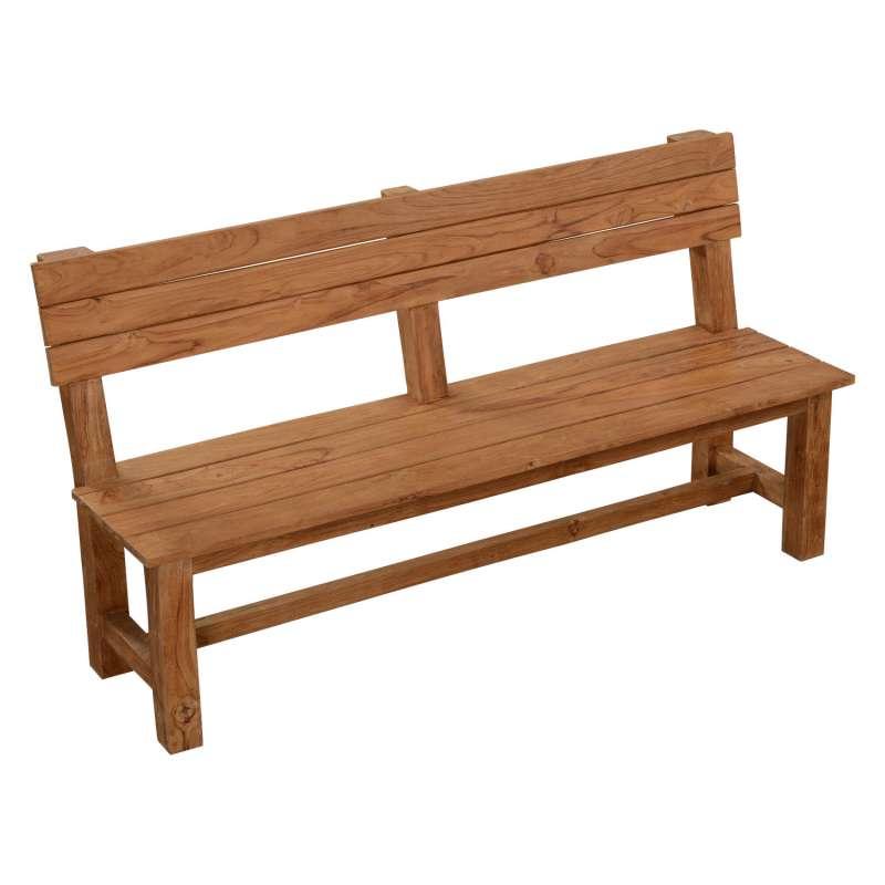 Inko Teakholz-Sitzbank Abacus recyceltes Teak 170x54,5x89,5 cm Gartenbank Holzbank