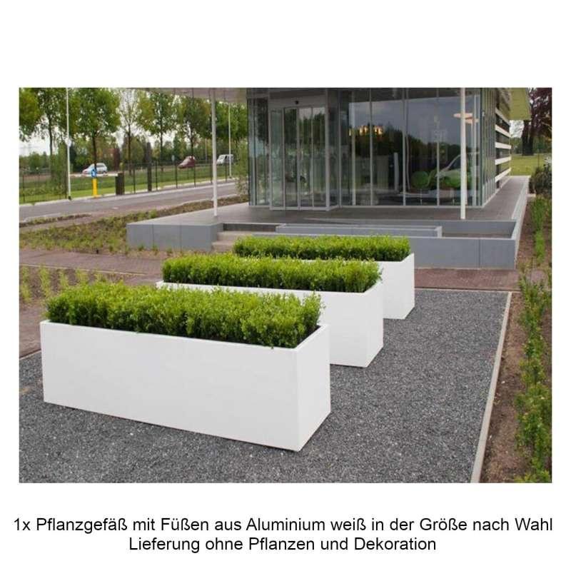 Mecondo Pflanzgefäß mit Füßen Aluminium verkehrsweiß RAL 9016 quadratisch/rechteckig Blumenkübel