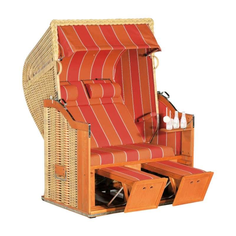 Sonnenpartner Strandkorb Classic 2-Sitzer Halbliegemodell natur/orange mit Sonderausstattung