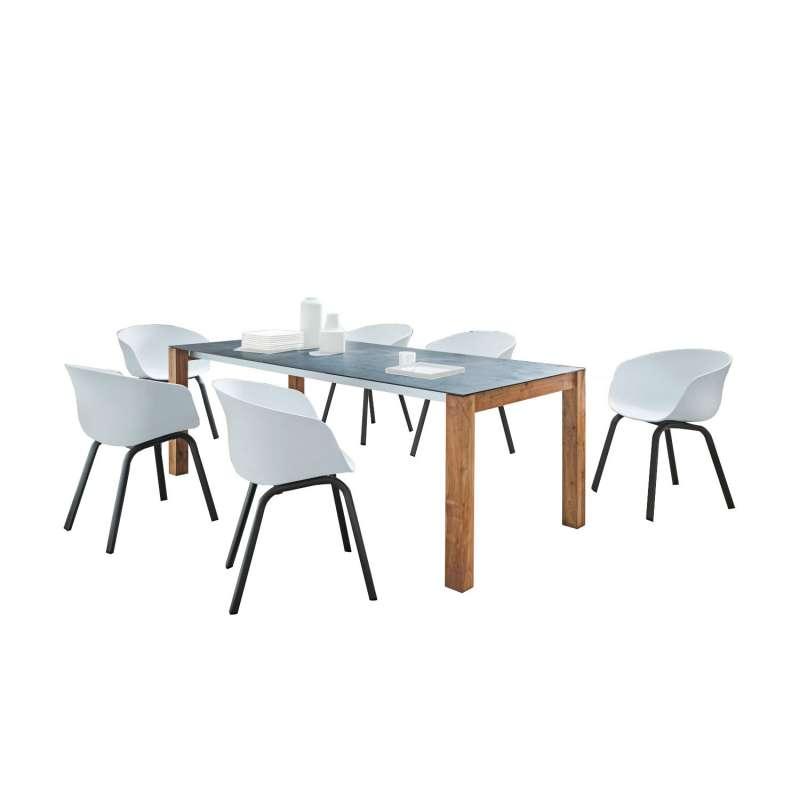 SIT Mobilia 7-teilige Sitzgruppe Olympia München & Boca Teak/Aluminium eisengrau/weiß Tisch 210x95 c