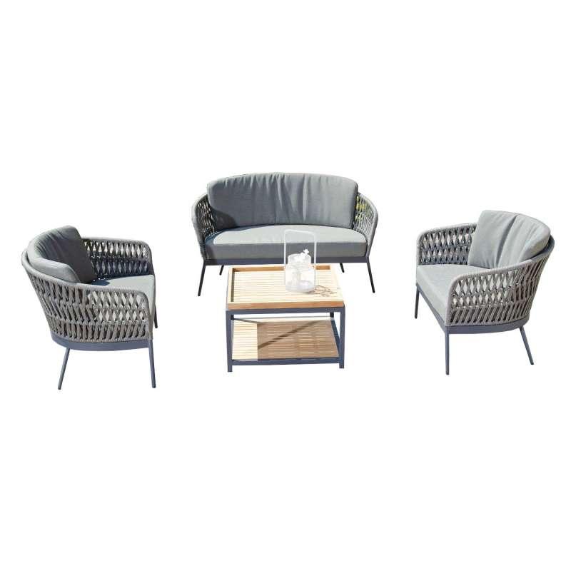 Sonnenpartner 4-teilige Lounge-Sitzgruppe Advokat & Square mit Tisch Aluminium mit Teakholz/Polyrope