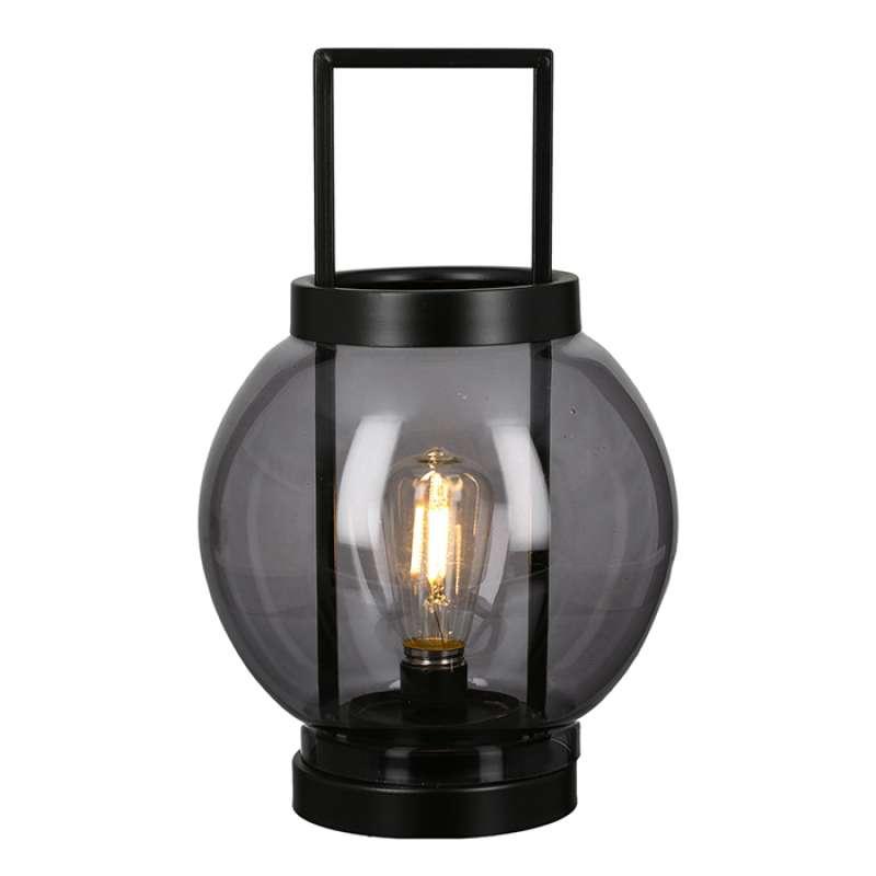 Casablanca Windlicht Laterne Globe klein Metall schwarz Glas Ø 17 cm