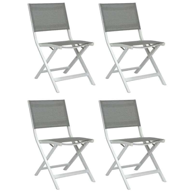 Stern 4er-Set Balkon-Klappstühle Nils Aluminium weiß/Textilen silber Balkonstuhl Klappstuhl