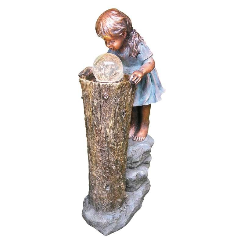 Granimex Zhisheng Zauberin Polystone Brunnen Pumpe LED-Beleuchtung Glaskugel Wasserspiel 83x41x23 cm
