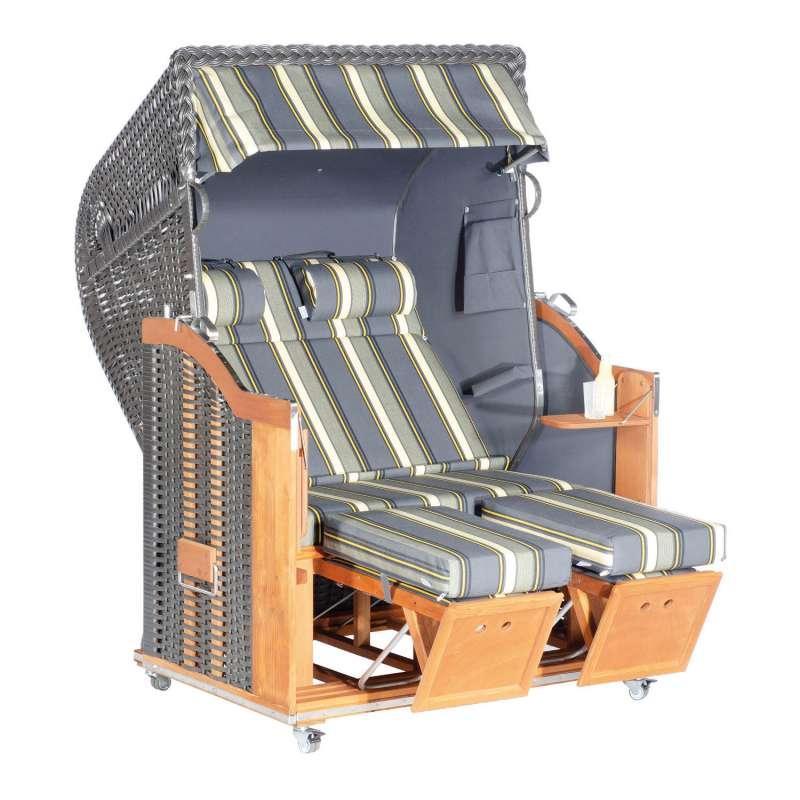 Sonnenpartner Strandkorb Classic 2-Sitzer Halbliegemodell anthrazit/grau mit Sonderausstattung