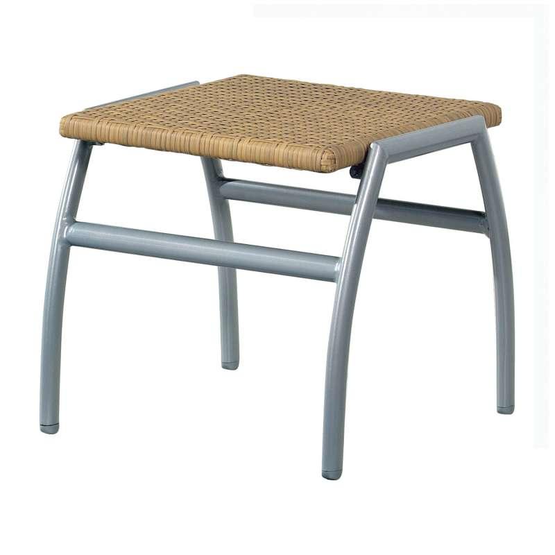 Inko Fußhocker New York Aluminium silber/Geflecht natur Sitzhocker 45,5x51x46 cm