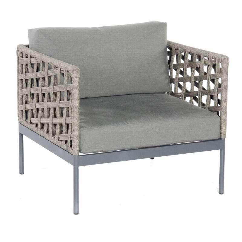 Sonnenpartner Lounge-Sessel Vogue Aluminium mit Polyrope grau Loungesessel