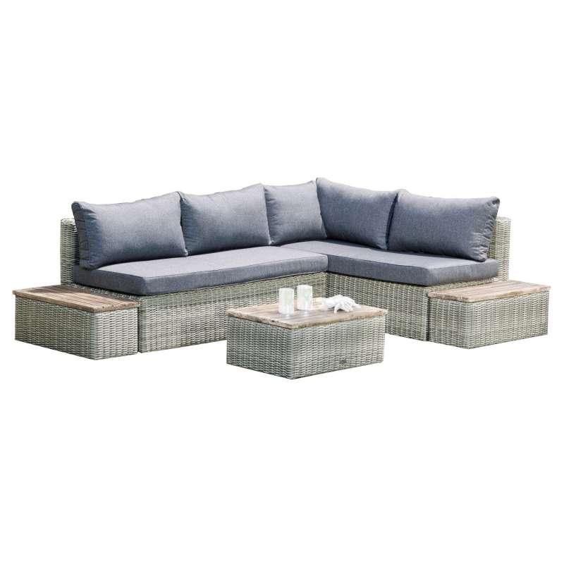 SunnySmart 4-teilige Loungegruppe Newport Akazienholz und Aluminium mit Kunststoffgeflecht grey-whit