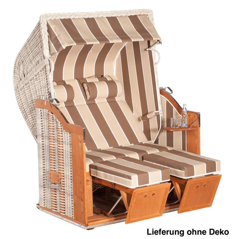Sonnenpartner Strandkorb Classic 2Sitzer Halbliegemodell antikweiß Ausstattung