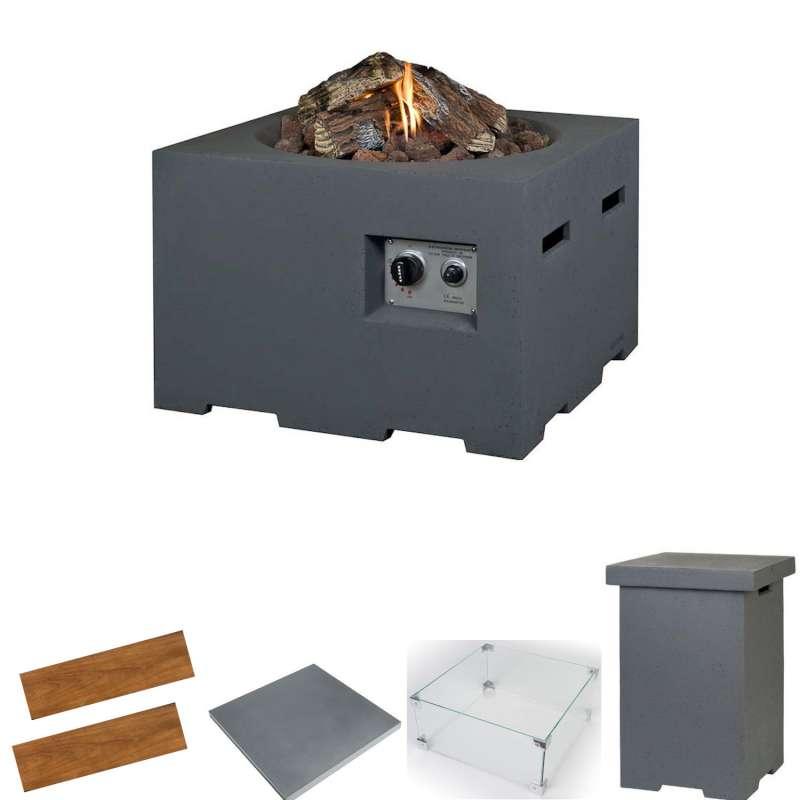 Happy Cocooning Mania Feuertisch Komplettset 19,5 kW quadratisch groß 76x76x46 cm Beton-Optik grau