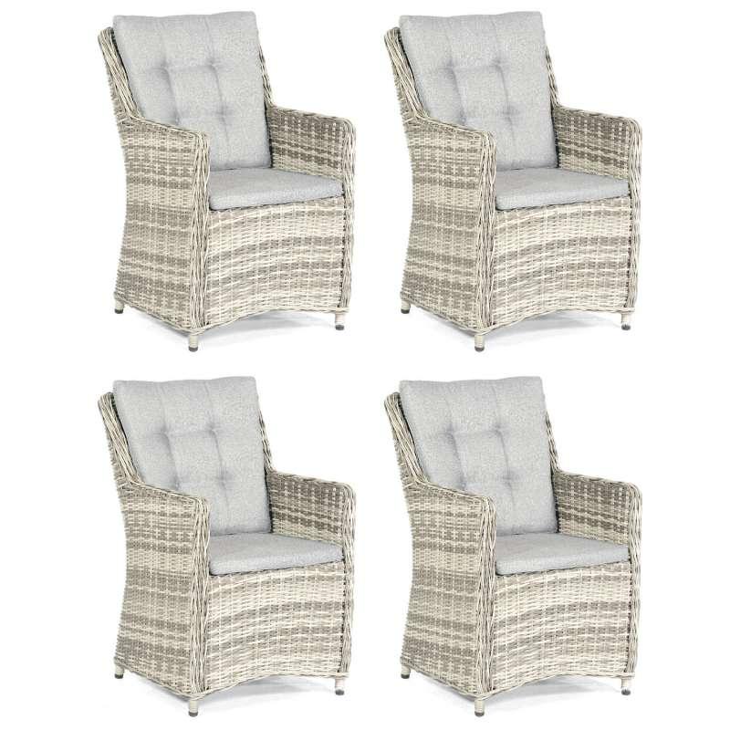 SunnySmart 4er-Set Garten-Sessel Hamilton Aluminium mit Kunststoffgeflecht vintage-taupe Gartenstuhl