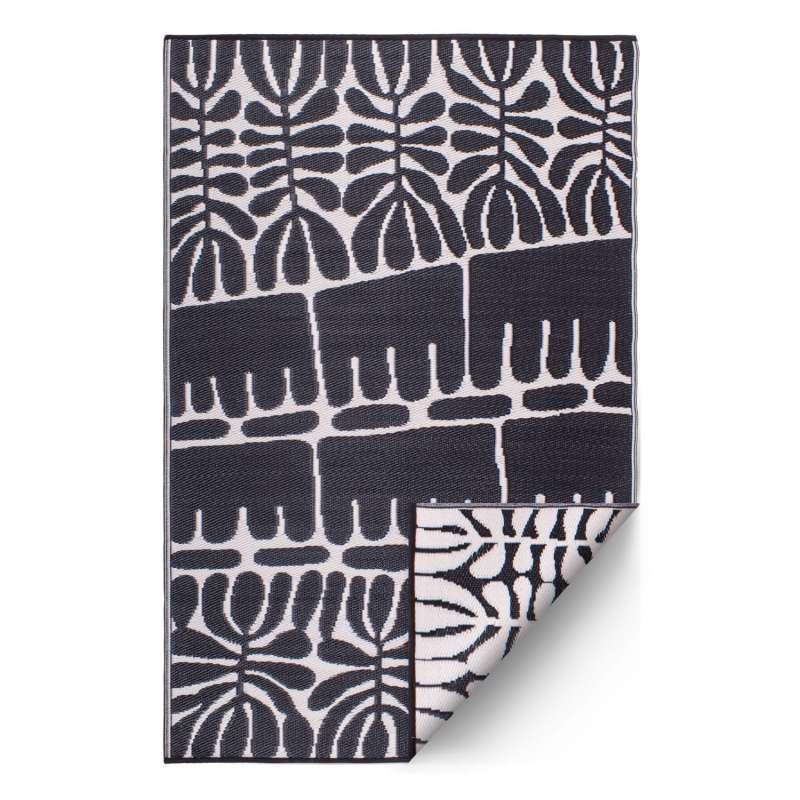 Fab Hab Outdoorteppich Serowe Black aus recyceltem Plastik schwarz/weiß 180x270 cm