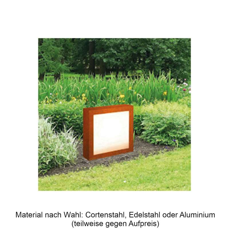 Mecondo Leuchtobjekt ILUX 50x50x20 cm LED-Leuchte Corten/Edelstahl/Aluminium mit Acrylglas beidseiti