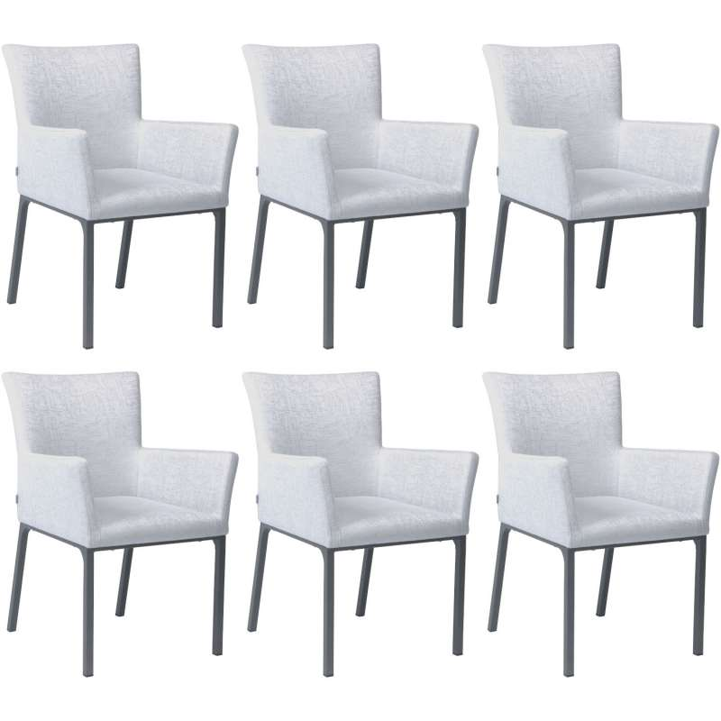 Stern 6er-Set Dining-Sessel Artus Aluminium anthrazit/ Outdoorstoff hellgrau seidengrau Loungesessel