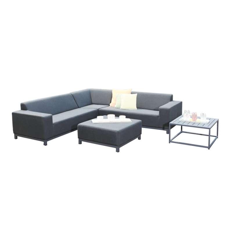 Sonnenpartner 5-teilige Lounge-Sitzgruppe Solitaire Aluminium mit Kissen anthrazit Loungesitzgruppe