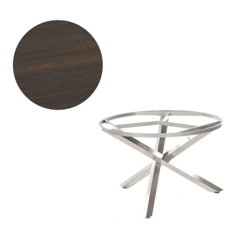 Sonnenpartner Gartentisch Base-Spectra rund Ø 134 cm Edelstahl Tischsystem mit wählbarer Tischplatte