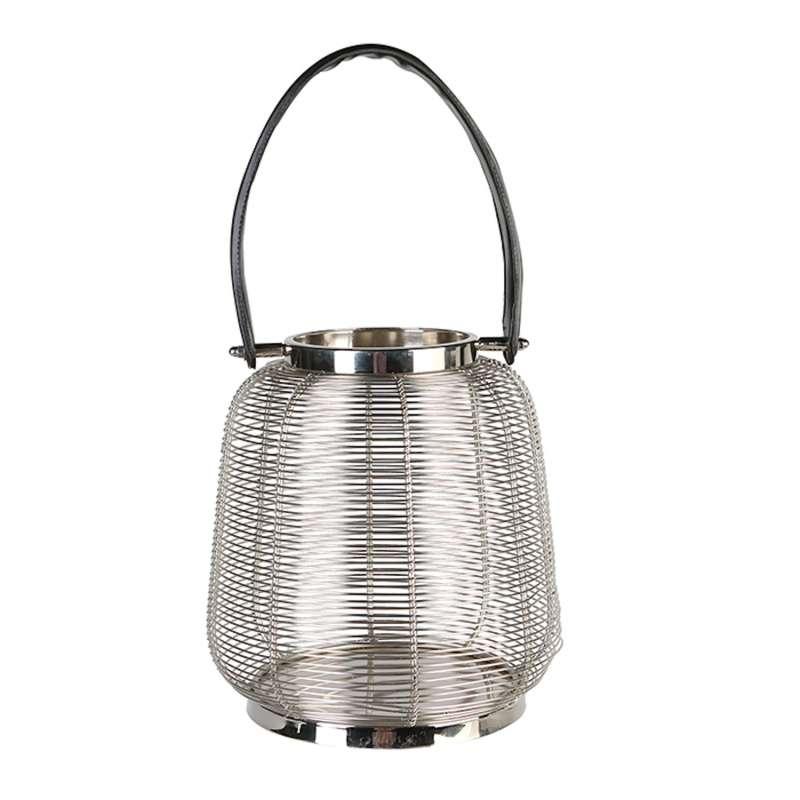 Casablanca Windlicht Cage klein Edelstahl mit Lederhenkel Ø 23 cm