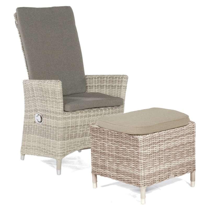Sonnenpartner Garten-Sessel Solares mit Fußhocker Aluminium mit Polyrattan white-coral Gartenstuhl H