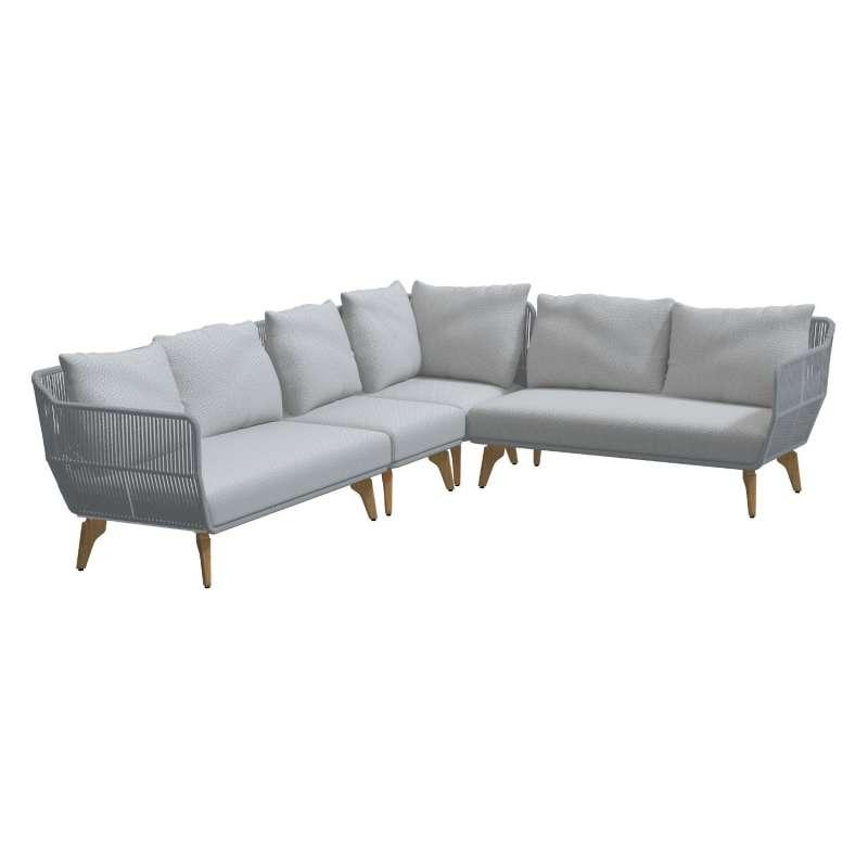 4Seasons Outdoor 4-teiliges Lounge-Set Raphael Polyrope frozen/Teakholz Sitzgruppe