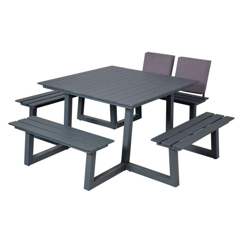 Inko Cebu Sitzgruppe Tisch mit 4 Bänken Aluminium graphit Picknickbank 218x230x87 cm
