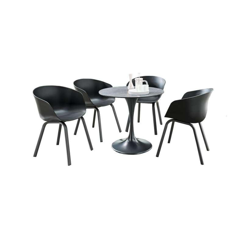 SIT Mobilia 5-teilige Sitzgruppe Trompeta rund & Boca Aluminium eisengrau/schwarz Tisch Ø 80 cm mit