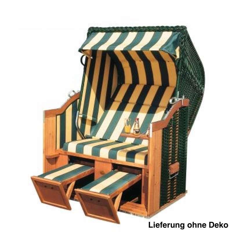 Sonnenpartner Strandkorb Classic 2 Sitzer Halbliegemodell grün beige